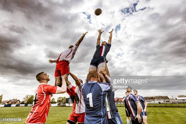 teamwork in rugby match! - rugby union stock pictures, royalty-free photos & images