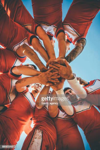 teamwork in team - rugby league stock pictures, royalty-free photos & images