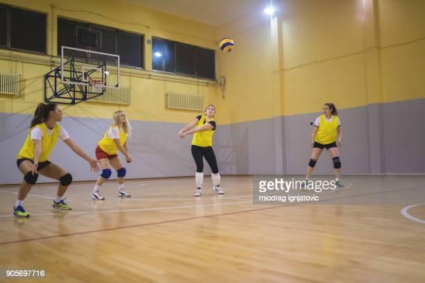 teamarbeit macht uns zu gewinnen - volleyball mannschaftssport stock-fotos und bilder