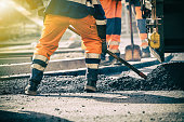 Teamwork on road construction