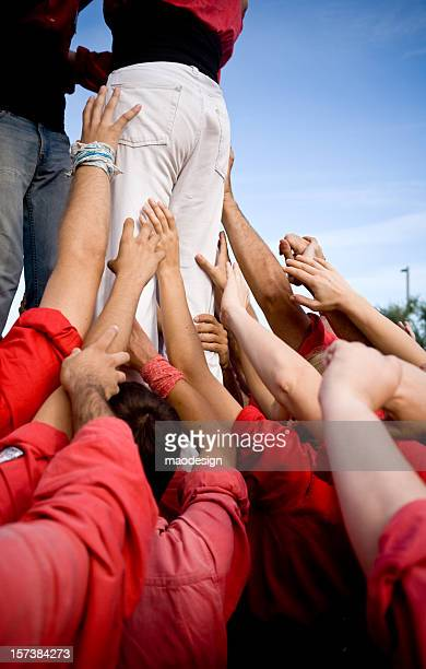 teamwork - castellers stock photos and pictures