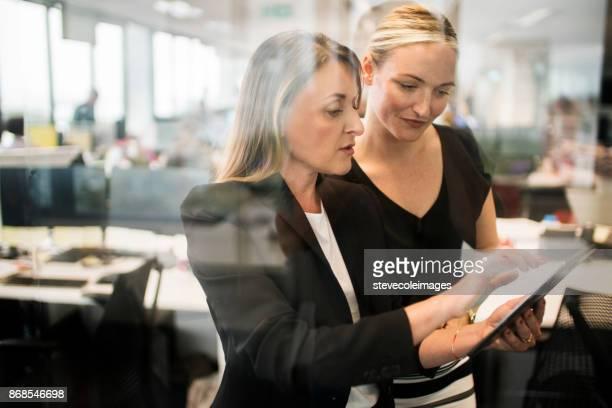 teamwork (teamarbeit) - weibliche angestellte stock-fotos und bilder