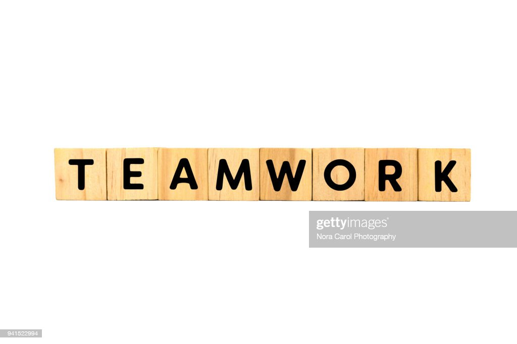 Teamwork Text on Wood Blocks on White Background : Stock Photo