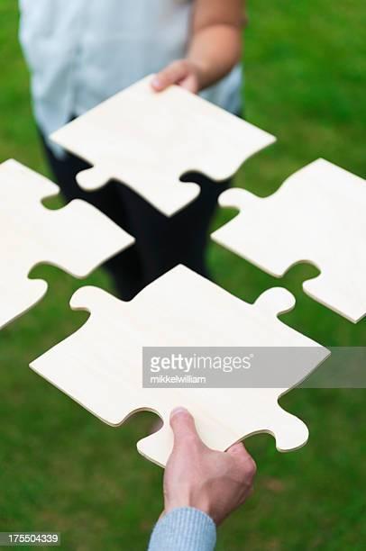 Teamworking mit einem puzzle
