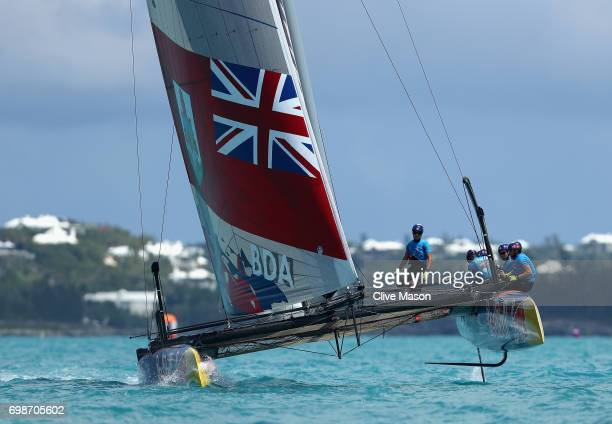 Tean BDA of Bermuda in action racing during day 1 of the Red Bull Youth America's Cup Finals on June 20 2017 in Hamilton Bermuda