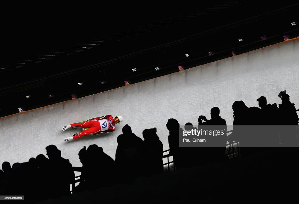 Te-An Lien of Chinese Taipei competes during the Men's Luge Singles on Day 2 of the Sochi 2014 Winter Olympics at Sliding Center Sanki on February 9, 2014 in Sochi, Russia.