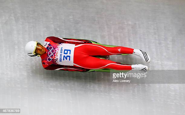 TeAn Lien of Chinese Taipei makes a run during the Luge Men's Singles on Day 1 of the Sochi 2014 Winter Olympics at the Sliding Center Sanki on...