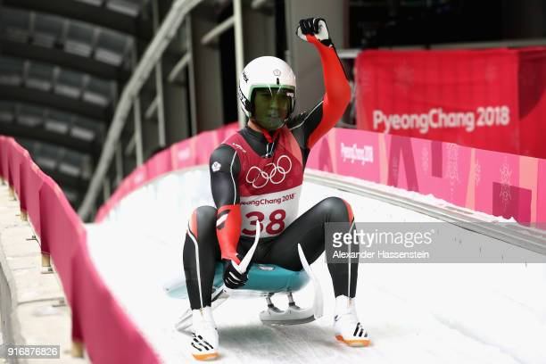 TeAn Lien of Chinese Taipei reacts following run 3 during the Luge Men's Singles on day two of the PyeongChang 2018 Winter Olympic Games at Olympic...