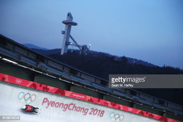 TeAn Lien of Chinese Taipei slides in a training session for the Men's Luge during previews ahead of the PyeongChang 2018 Winter Olympic Games at the...