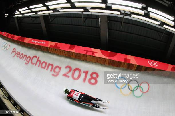 TeAn Lien of Chinese Taipei slides in run 3 during the Luge Men's Singles on day two of the PyeongChang 2018 Winter Olympic Games at Olympic Sliding...