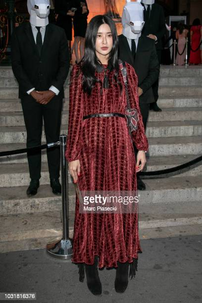 Teaoh Huwei is seen arriving at the Longchamp 70th Anniversary Celebration at Opera Garnier on September 11 2018 in Paris France