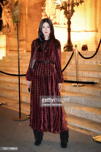 Teaoh Huwei is seen outside the Longchamp 70th Anniversary Celebration at Opera Garnier on September 11 2018 in Paris France