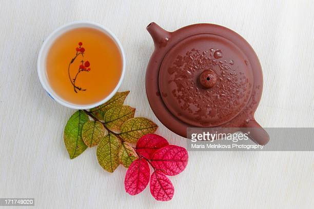 teapot, black tea and colorful leaves - porcelain stock photos and pictures