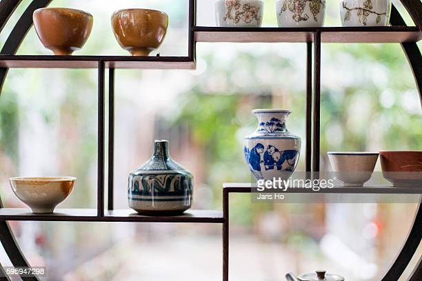 teapot display rack - porcelain stock pictures, royalty-free photos & images