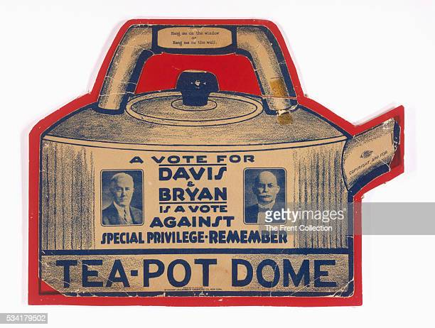Teapot dome hanger from the 1924 United States presidential election featuring Charles W Bryan and John W Davis