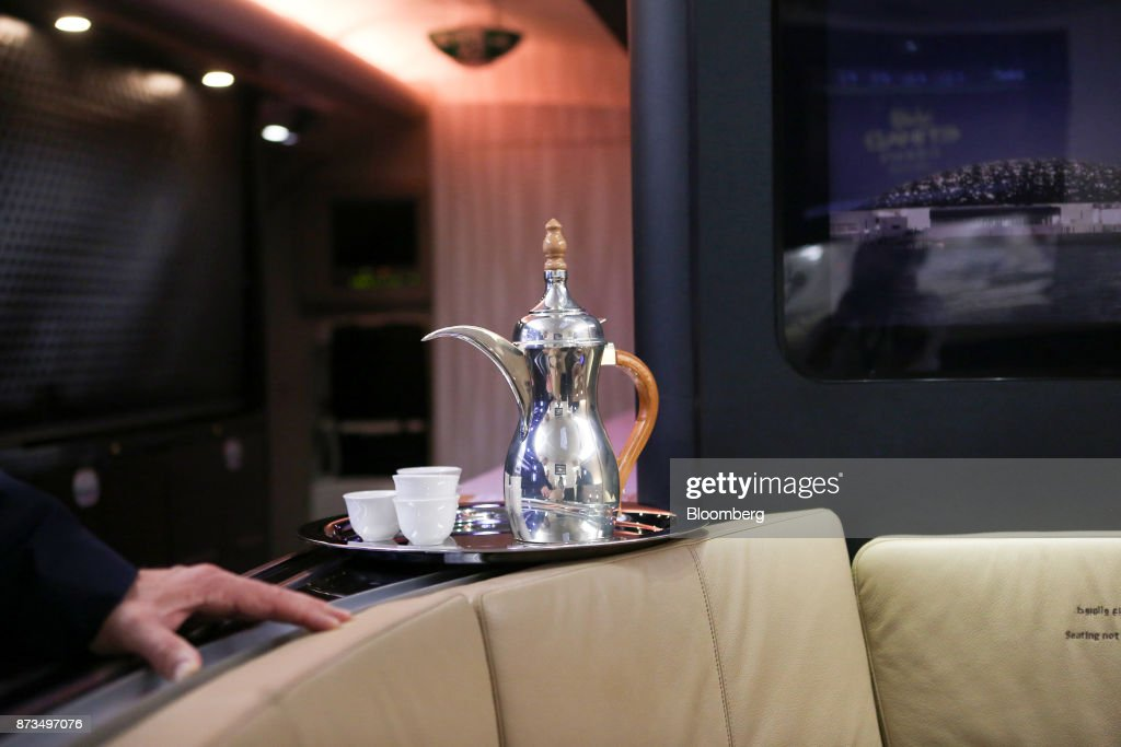 A teapot sits on a service tray in the first class lounge area of a Airbus SE A380 passenger aircraft, operated by Etihad Airways PJSC, during the 15th Dubai Air Show at Dubai World Central (DWC) in Dubai, United Arab Emirates, on Monday, Nov. 13, 2017. The biennial Dubai expo is an important venue for manufacturers to secure deals for their biggest and most expensive jetliners. Photographer: Natalie Naccache/Bloomberg via Getty Images