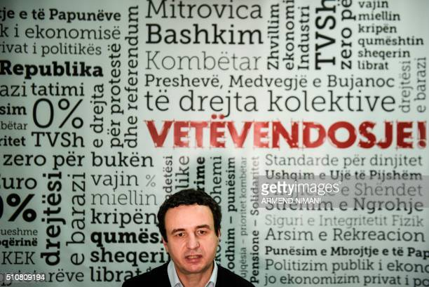 STORY 'Tear gas clouds Kosovo independence anniversary' By RACHEL O'BRIEN Member of the Kosovo Parliament and Opposition Leader Albin Kurti speaks...