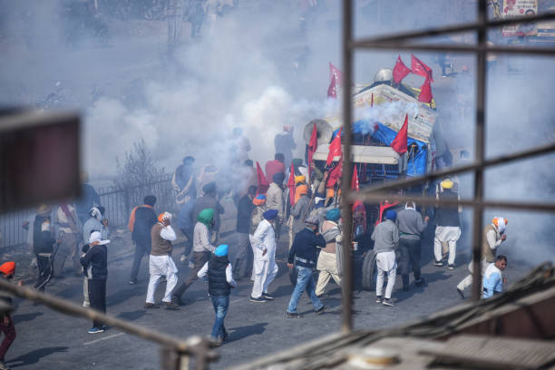 IND: Farmers Protesters Clash With Police At Delhi Haryana Border