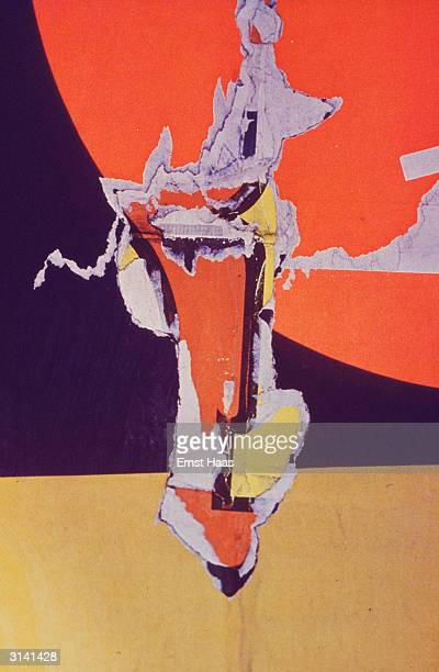 A tear in the vivid purple orange and yellow pattern of a poster in New York City 1959 Colour Photography book
