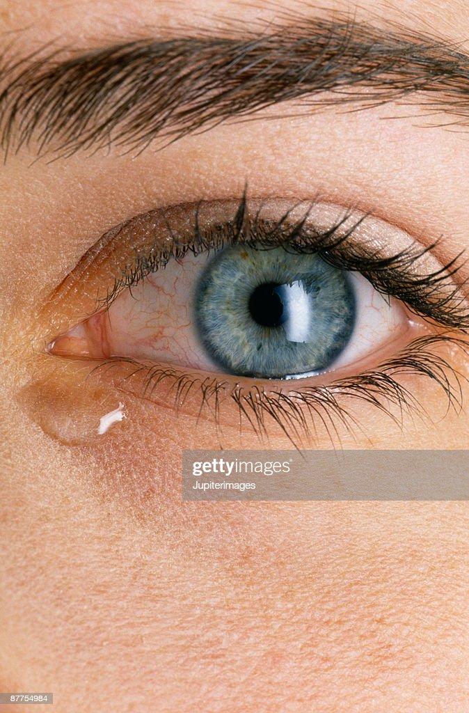 Tear in woman's eye : Stock Photo