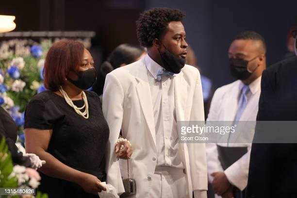 Tear runs down the cheek of Khalil Bryant after viewing the remains of his 16-year-old sister Ma'Khia Bryant during her visitation at First Church of...