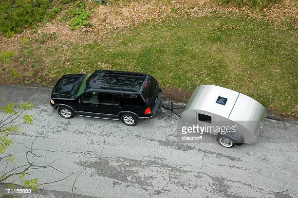 teardrop trailer - trailer stock pictures, royalty-free photos & images