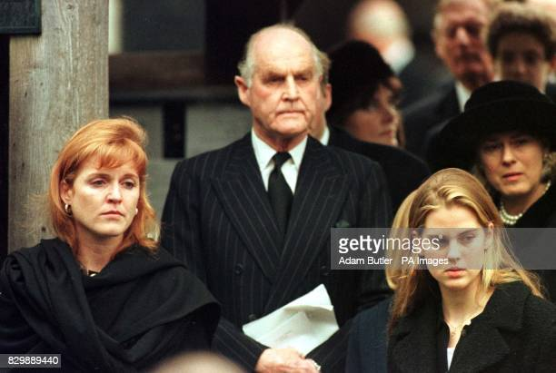 Tearful Duchess of York walks out of the All Saints Church in Dummer, Hants. Followed by her father Major Ronald Ferguson, after attending the...