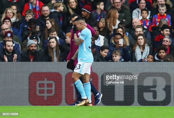 A tearful Gabriel Jesus of Manchester City leaves the pitch through injury during the Premier League match between Crystal Palace and Manchester City...