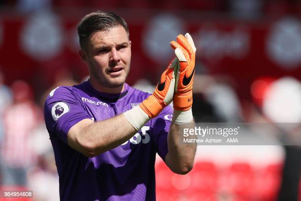A tearful Jack Butland of Stoke City after the 12 defeat during the Premier League match between Stoke City and Crystal Palace at Bet365 Stadium on...