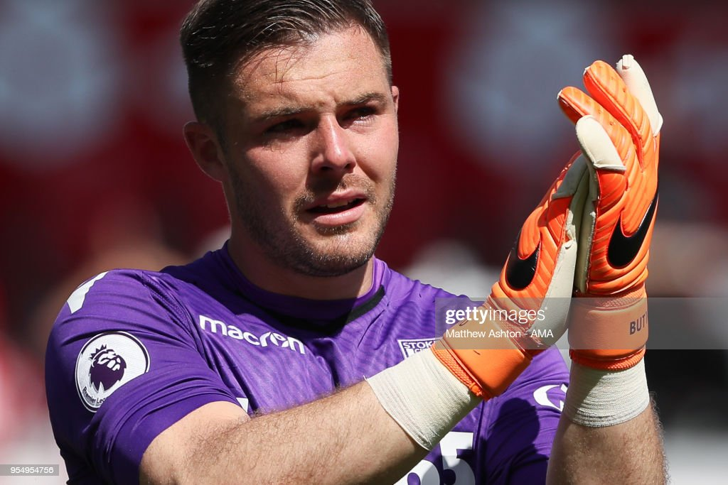 A tearful Jack Butland of Stoke City after the 1-2 defeat during the Premier League match between Stoke City and Crystal Palace at Bet365 Stadium on May 5, 2018 in Stoke on Trent, England.