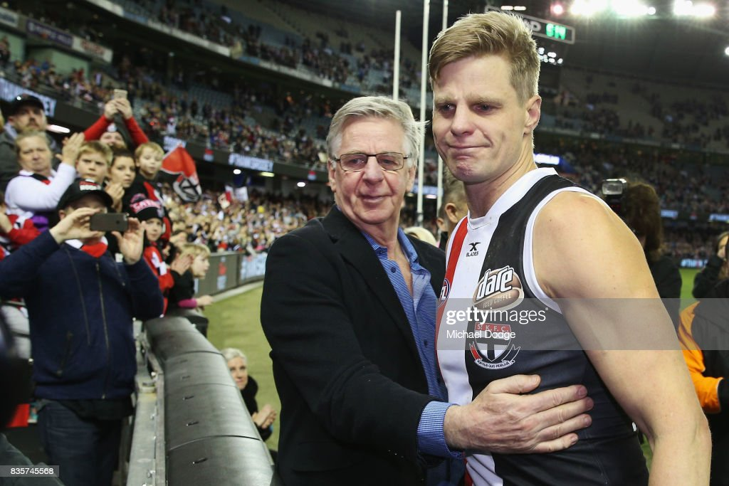 A tearful Nick Riewoldt of the Saints celebrates with his dad Joe after winning during the round 22 AFL match between the St Kilda Saints and the North Melbourne Kangaroos at Etihad Stadium on August 20, 2017 in Melbourne, Australia.