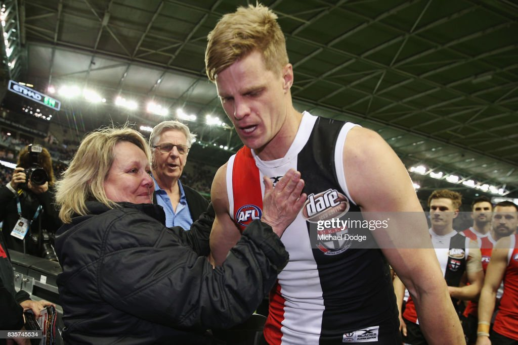 A tearful Nick Riewoldt of the Saints celebrates with his mum Fiona after winning during the round 22 AFL match between the St Kilda Saints and the North Melbourne Kangaroos at Etihad Stadium on August 20, 2017 in Melbourne, Australia.