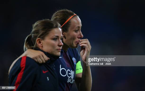 A tearful Sabrina Delannoy of PSG during the UEFA Women's Champions League Final match between Lyon and Paris Saint Germain at Cardiff City Stadium...