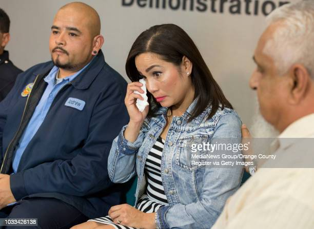 A tearful Tina Marie Costa center is joined by her brother Andrew Trejo left and her uncle Jim Gastelo right during news conference to discuss how...