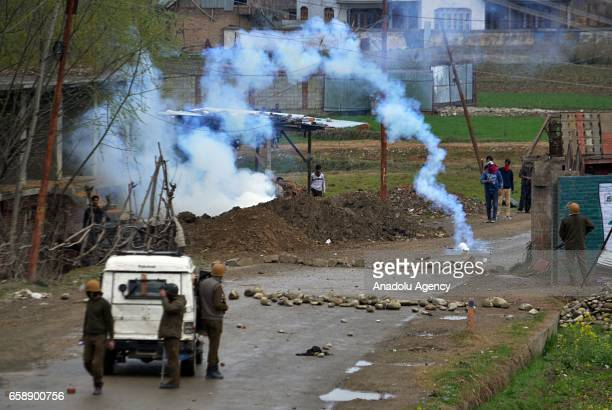 Teargas smoke rises as protesters clash with Indian police in central Kashmirs Chadoora some 20 kilometers from Srinagar the summer capital of Indian...