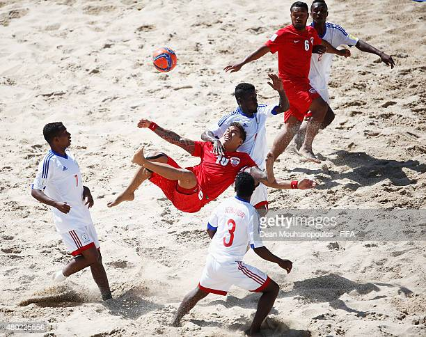 Tearii Labaste of Tahiti attemts a scissor kick on goal during the Group D FIFA Beach Soccer World Cup match between Tahiti and Madagascar held at...