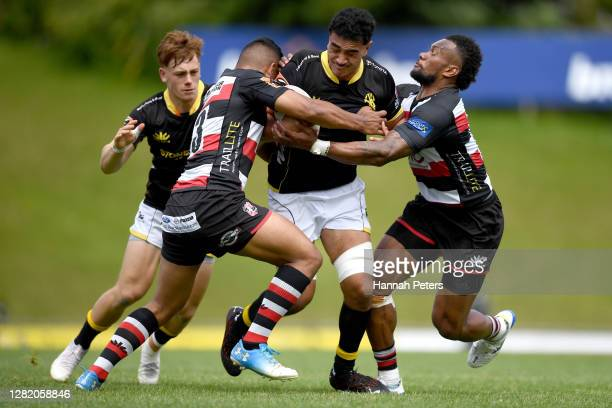 Teariki Ben-Nicholas of Wellington charges forward during the round 7 Mitre 10 Cup match between Counties Manukau and Wellington at Navigation Homes...