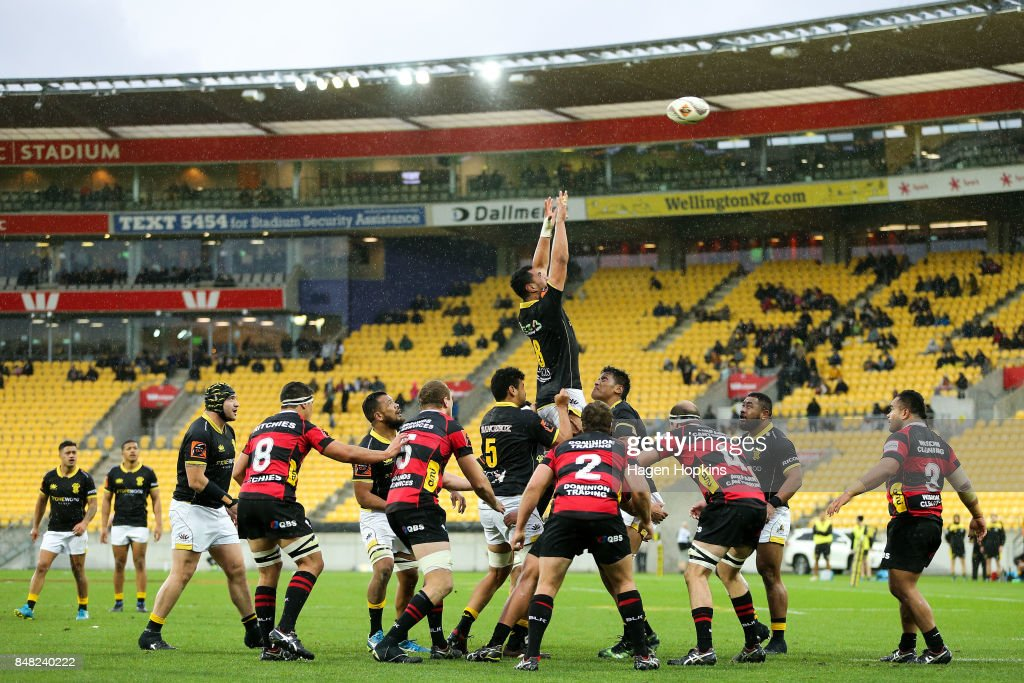 Teariki Ben-Nicholas of Wellington competes for a lineout during the round five Mitre 10 Cup match between Wellington and Canterbury at Westpac Stadium on September 17, 2017 in Wellington, New Zealand.