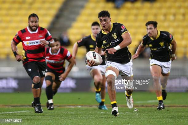 Teariki BenNicholas of Wellington makes a break during the round 3 Mitre 10 Cup match between Wellington and Canterbury at Westpac Stadium on August...
