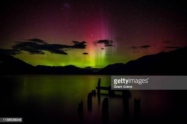 tearooms jetty - aurora australis stock pictures, royalty-free photos & images