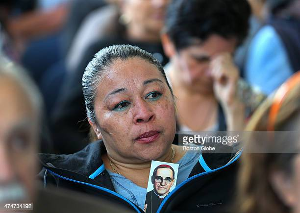 Tears flow down the face of Teresa Ascencio at the Salvadoran Consulate which hosted a simulcast of a beatification Mass for assassinated salvadoran...