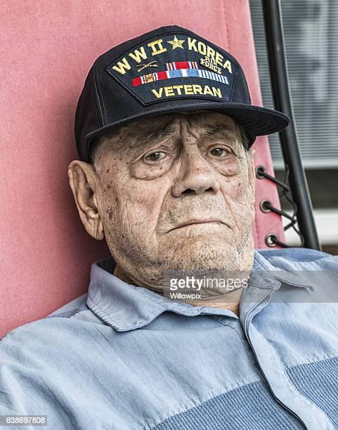 Tears in Eyes Elderly WWII Korea Veteran With The Blues