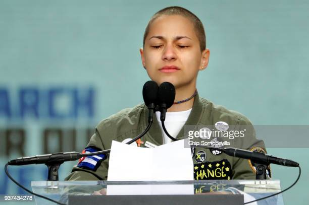 Tears roll down the face of Marjory Stoneman Douglas High School student Emma Gonzalez as she observes 6 minutes and 20 seconds of silence while...