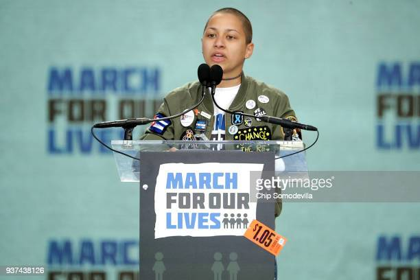 Tears roll down the face of Marjory Stoneman Douglas High School student Emma Gonzalez addresses the March for Our Lives rally on March 24 2018 in...
