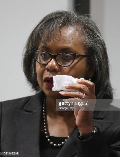 Tears run down the face of Professor Anita Hill after she gave a speech to students, faculty and guests on the campus of the University of Utah on...