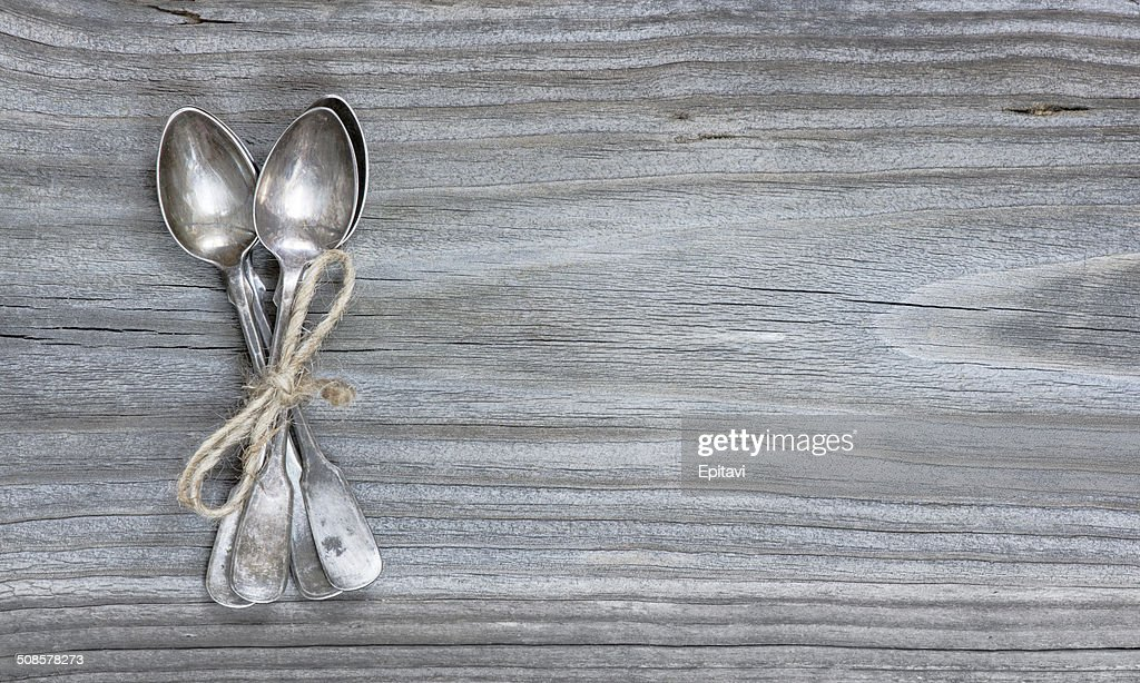 Teaspoons on the board : Stock Photo