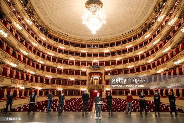 Teatro Alla Scala workers pose on stage on November 05, 2020 in Milan, Italy.