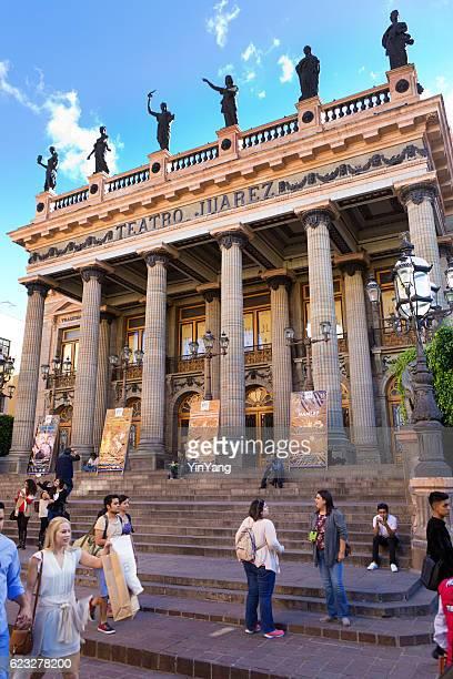 teatro juarez, the grand theater in guanajuato, mexico - ciudad juarez stock photos and pictures