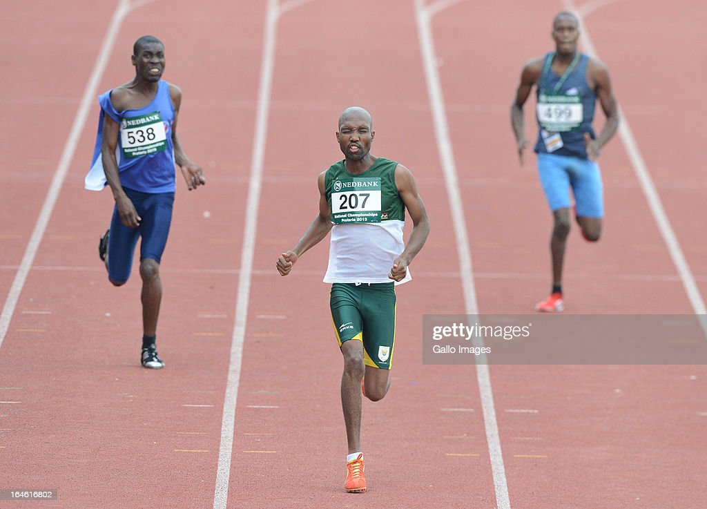 Teboho Mokgalagadi of Free State wins the 200m during day 3 of The Nedbank National Championships for the Physically Disabled (Athletics) at LC de Villiers Stadium on March 25, 2013 in Pretoria, South Africa.