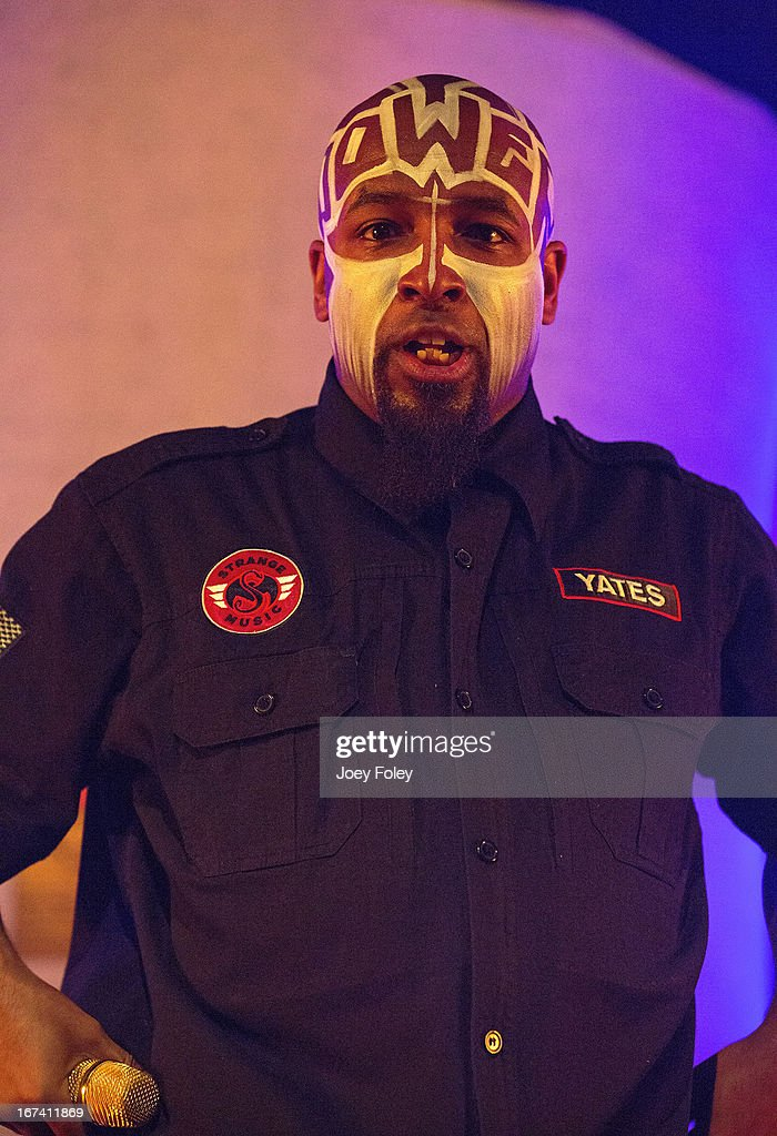 Tech N9ne performs onstage at the Egyptian Room at Old National Centre on April 24, 2013 in Indianapolis, Indiana.